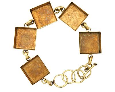 Brass Square Bezel Link Bracelet 19mm