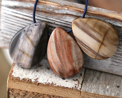 Petrified Wood Teardrop Pendant 25-26x35mm