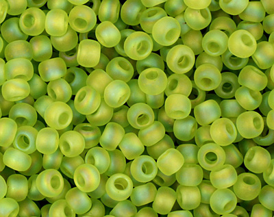 TOHO Transparent Rainbow Frosted Lime Green Round 11/0 Seed Bead