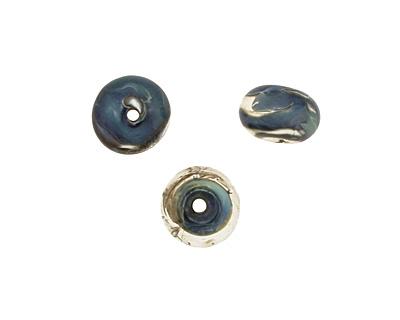 The BeadsNest Lampwork Glass Blue/Ivory Rondelle 8-9x13-14mm