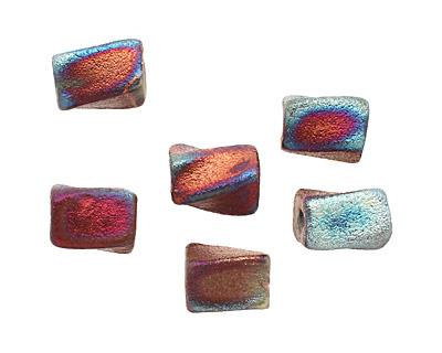 Xaz Raku Stan's Rust Twisted Brick 13-16x9-10mm