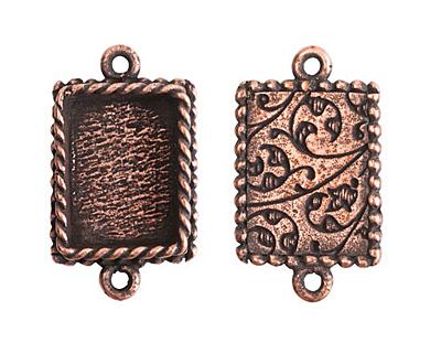 Nunn Design Antique Copper (plated) Mini Ornate Rectangle Bezel Link 24x14mm