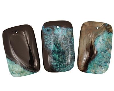 Black & Sea Green Agate Rectangle Pendant 35x55mm