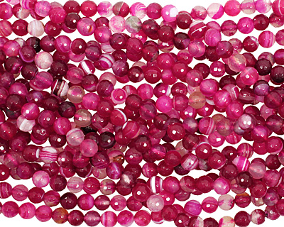 Ruby Line Agate Faceted Round 8mm
