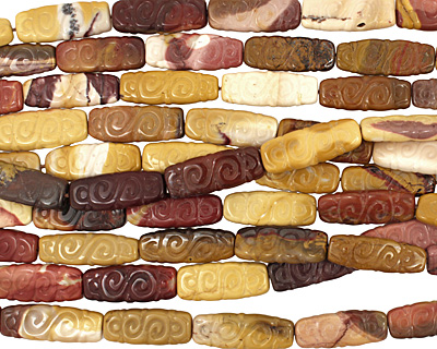 Mookaite Carved Flat Oval 30-32x11-12mm