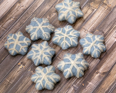 Light Blue Felt Snowflake 45mm