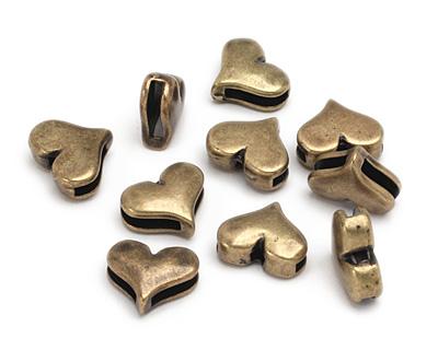 Antique Brass (plated) Heart 10mm Flat Cord Slide 15x13mm