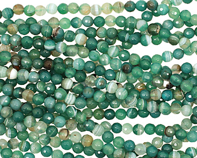 Green Line Agate Faceted Round 6mm