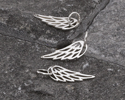 Nina Designs Sterling Silver Tiny Cut-out Angel Wing Charm 6x15mm