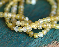 Yellow Opal Faceted Rondelle 3.5-4mm