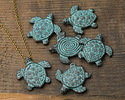 Greek Copper (plated) Patina Double Sided Spiral Turtle Pendant 30x30mm