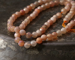 Peach Moonstone w/ AB Luster Faceted Round 4.5mm