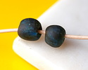 African Recycled Glass Black Lagoon Tumbled Round 9-11mm