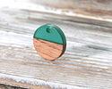 Walnut Wood & Emerald Resin Coin Focal 15mm