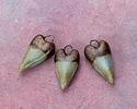 Gaea Ceramic Mint on Tan Heart Charm 10x20mm