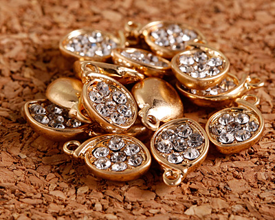 Clear Pave CZ Matte Gold Finish Cupped Leaf Charm 8x13mm