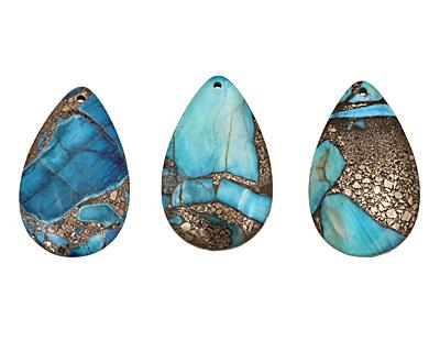 Blue Agate & Pyrite Teardrop Pendant 30x48mm