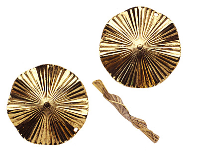 Stampt Antique Gold (plated) Ruffled Disk 44mm