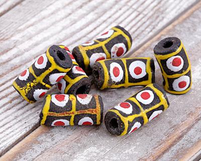African Handpainted in Red/Saffron/White on Espresso Powder Glass (Krobo) Bead 22-26x10-11mm