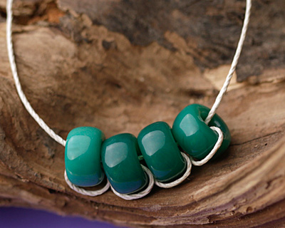 Czech Glass Green Turquoise Large Hole Rondelle 10x17mm