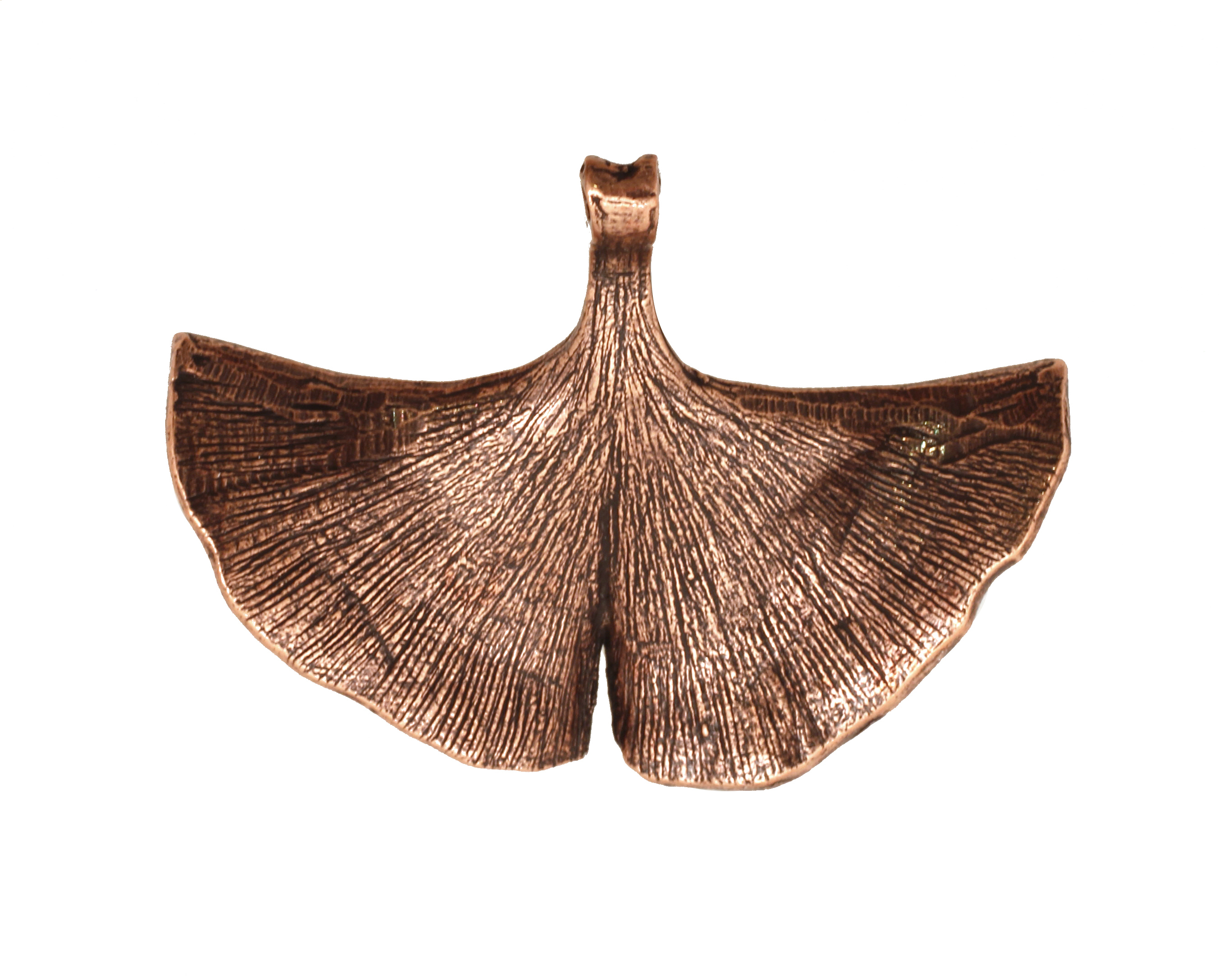 Ezel Findings Antique Copper Ginkgo Leaf Pendant 40x30mm