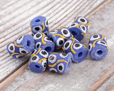 African Hand-Painted in Black/White/Saffron on Cobalt Powder Glass (Krobo) Bead 11-13x10-11mm