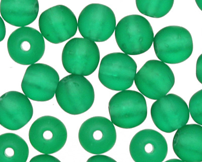 Czech Glass Matte Green Emerald Round 4mm