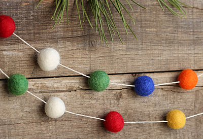 Vintage Christmas Lights Felt Round Mix