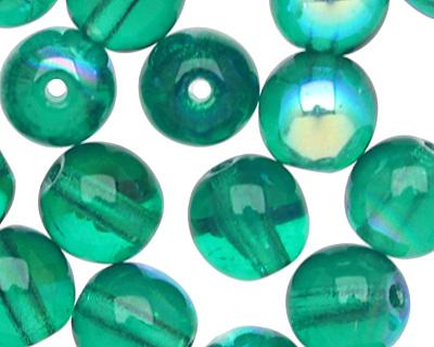 Czech Glass Emerald AB Round 6mm