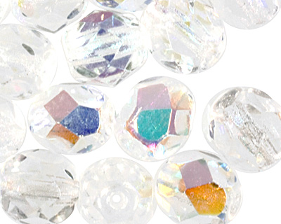Czech Fire Polished Glass Crystal AB Round 6mm