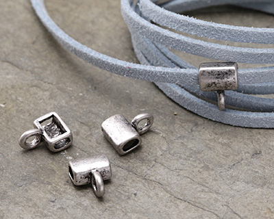 Zola Elements Antique Silver (plated) Simple 3mm Flat Cord Slide w/ Bail 9x11mm