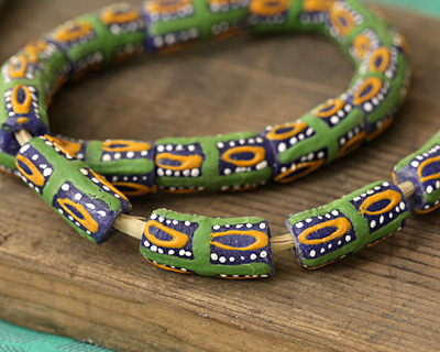 African Handpainted in Green/Saffron/White on Blue Powder Glass (Krobo) Bead 21-23x10-11mm