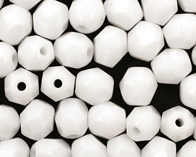 Czech Fire Polished Glass Opaque White Round 4mm