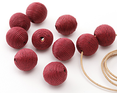 Cherry Thread Wrapped Bead 18mm