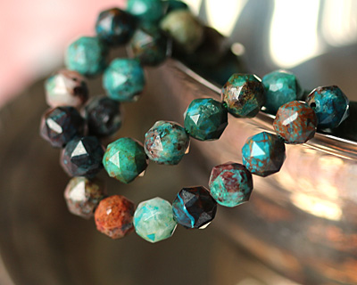 Chrysocolla (A) Diamond Cut Faceted Round 8mm