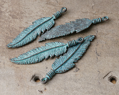 Greek Copper (plated) Patina Feather Pendant 17x67mm