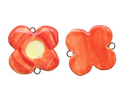 Jangles Ceramic Orange Flower Link 30-33mm