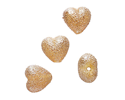 Grace Lampwork Golden Yellow Metallic Heart 19-20mm