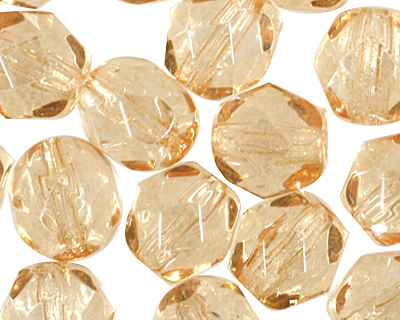 Czech Fire Polished Glass Luster Transparent Champagne Round 6mm