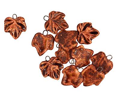 Earthenwood Studio Ceramic Rusty Small Wavy Leaf Charm 18x21mm