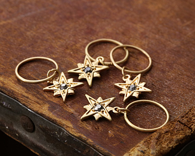 Zola Elements Matte Gold (plated) North Star w/ Crystal Charm 9.5x27mm