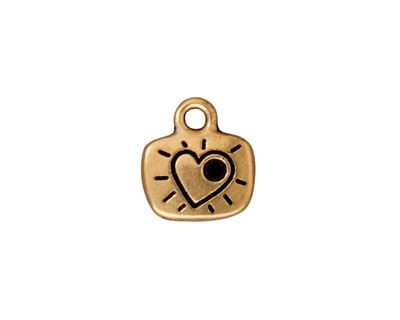 TierraCast Antique Gold (plated) Love Charm w/ Glue In 12x14mm