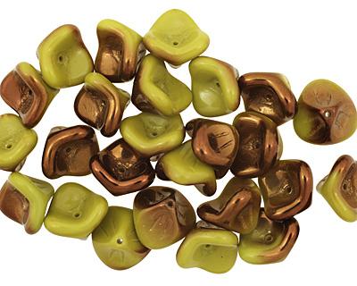 Czech Glass Luster Verde 3 Petal Bellflower 9x11mm