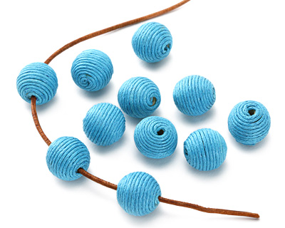 Sky Blue Thread Wrapped Bead 14mm