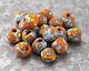 African Recycled Powder Glass & Seed Bead Aqua w/ Orange Tumbled Round 10-14mm