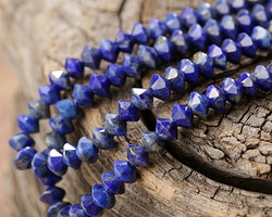 Lapis Tiny Faceted Saucer 3x4-4.5mm