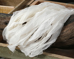 Ivory Silk Chiffon Ribbon Yarn