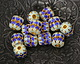 Cloisonné Blue & Seafoam w/ Gold Finish Openwork Petals Barrel Bead 8mm