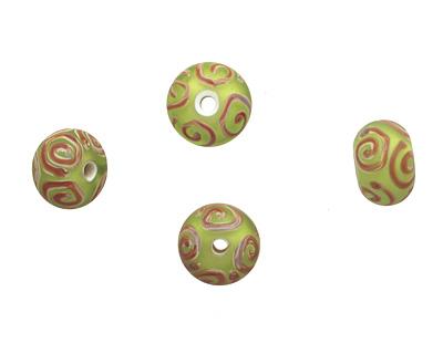 A Beaded Gift Grass w/ Raku Spirals Tumbled Glass Rondelle 9-10x14-15mm