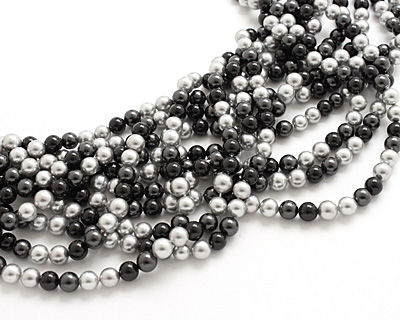 Grayscale Shell Pearl Mix Round 6mm